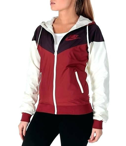 red black and white windbreaker with skinny jeans