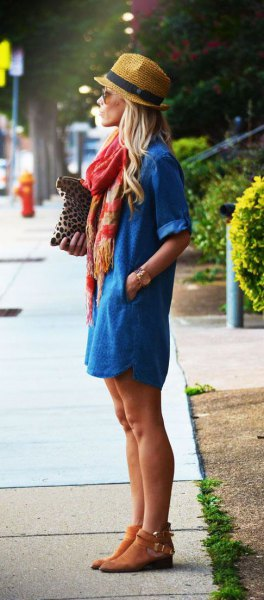 straw hat with blue jean dress and suede short boots