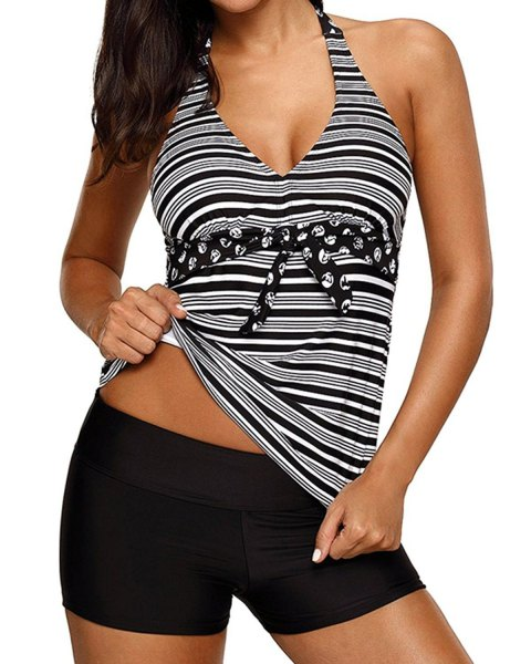 striped waterproof halter neck tank top with black swim shorts