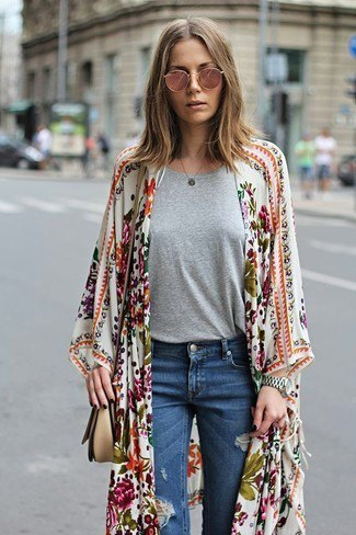 white and blush pink maxi floral cardigan with blue ripped jeans