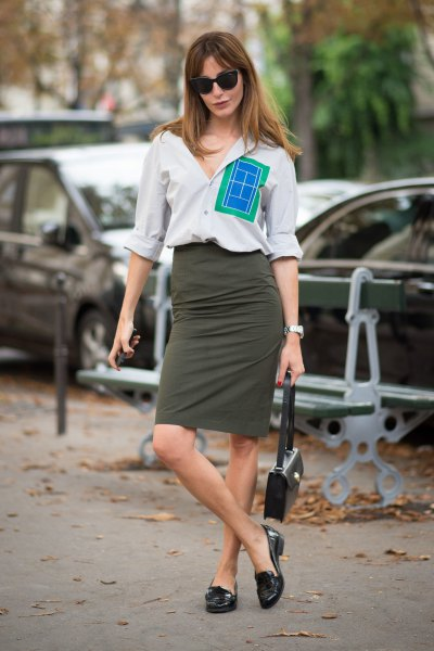 white button up shirt with grey midi denim skirt and black loafers