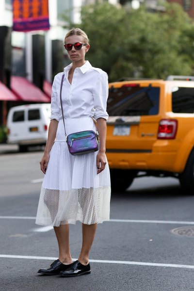 white button up shirt with midi semi sheer chiffon skirt and black leather derby shoes