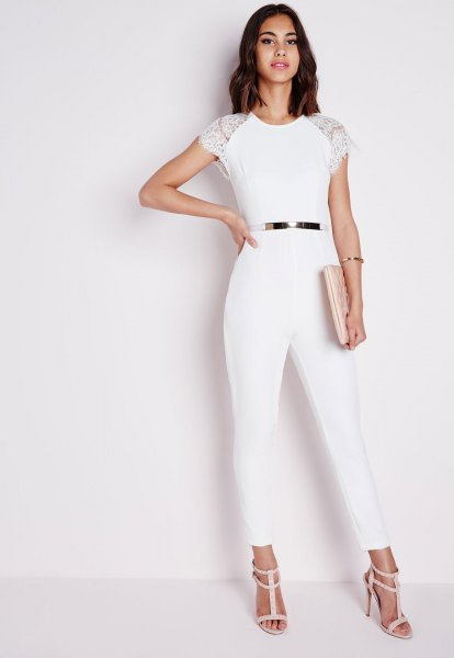 white cap sleeve belted jumpsuit with pale pink strappy open toe heels