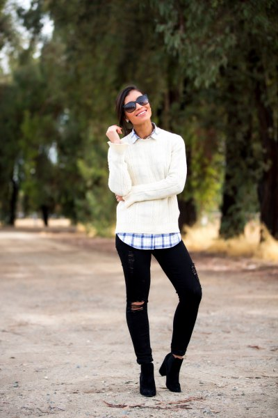 white chunky sweater with blue plaid boyfriend shirt