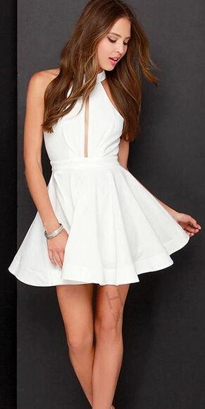 white keyhole high neck sleeveless fit and flare mini dress
