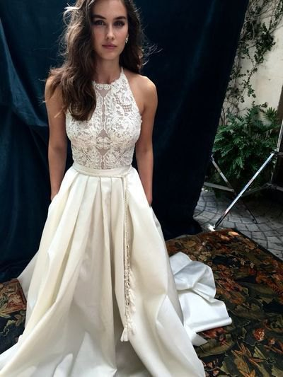 white lace fit and flare maxi dress