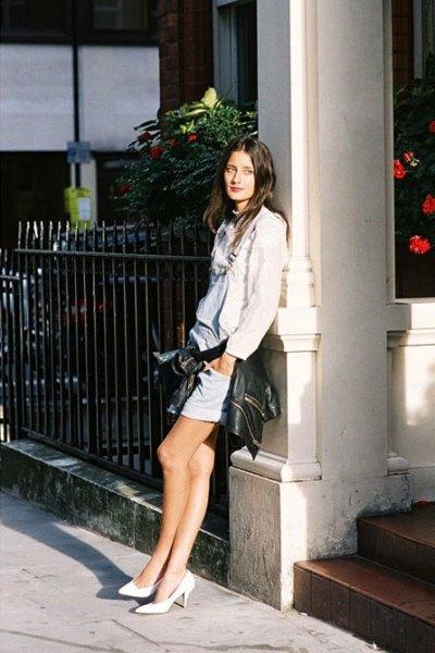 white linen blouse with light blue denim skirt and kitten heels