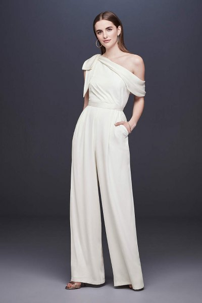 white one shoulder relaxed fit wide leg formal jumpsuit