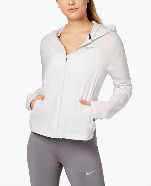 white running jacket with grey tights