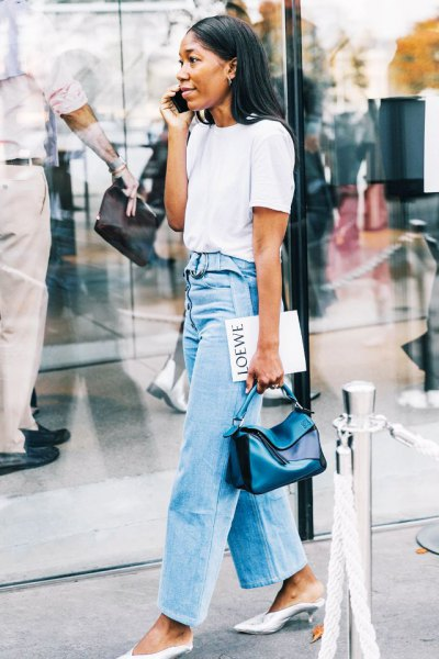 white t shirt with light blue high rise wide leg jeans