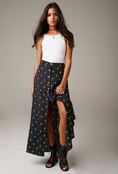 white tank top with polka dot high slit maxi skirt