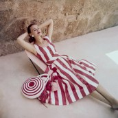 Model in Striped Dress with Matching Purse
