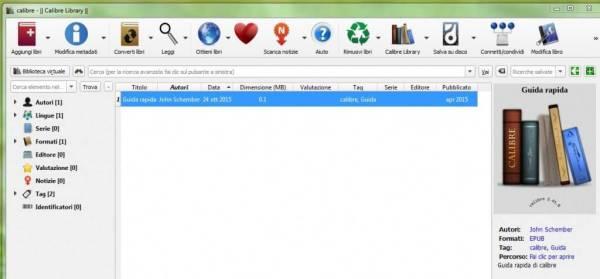 Calibre - schermata base