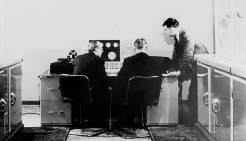 Alan M Turing and colleagues work on the Ferranti Mark I Computer in Manchester