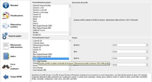 Calibre Convert Imposta pagina