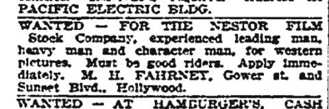 La ricerca di attori - Los Angeles Times on November 4, 1911