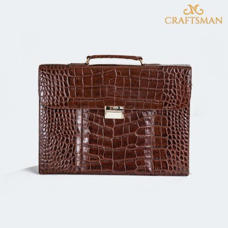 Craftsman Gents Coco Printed Leather Attache Case (BG009-Brown)