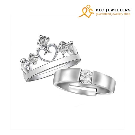 Couple Finger Rings Silver Plated White