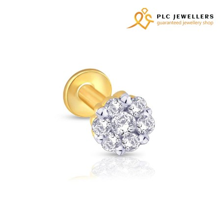 Diamond Cut With Gold Plated Nose Pin