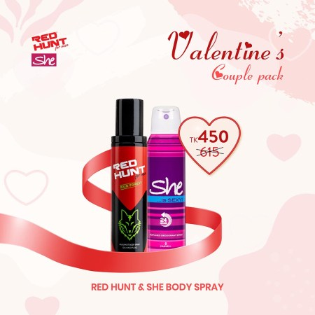 Red Hunt Deo 125ml & She Deo 150ml Body Spray (Combo Pack)