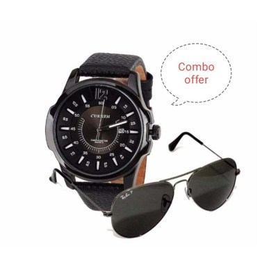 Combo Offer Sunglass and Leather Analog Watch For Men