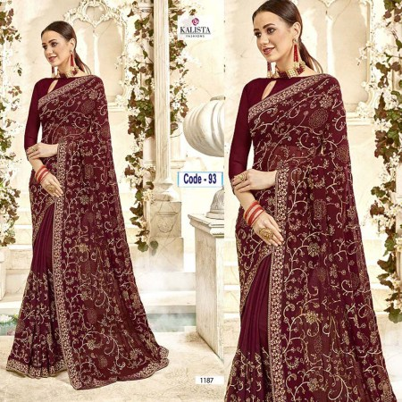 Dark Brown Embroidery Georgette Sharee (93)