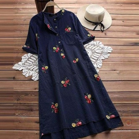 Women Blue Long Shirt with exclusive Emboardary work (KP 09)