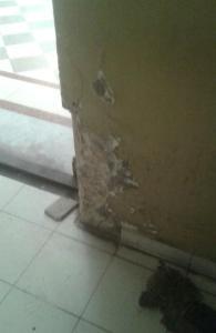 Una de las paredes de Casa Rosada destruida
