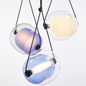 CAPSULA Triangle Brokis PC943 pendant lamp transparent glass blue violet yellow