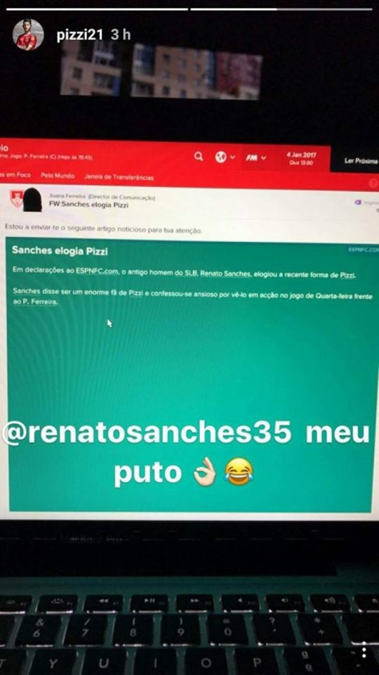 Renato Sanches elogia Pizzi....no Football Manager