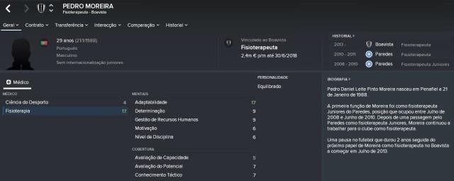 Perfil do Pedro Moreira no FM 2018