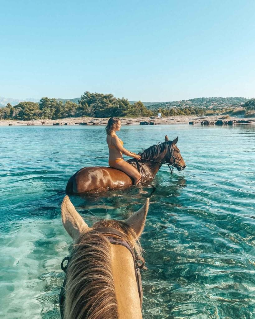 Baignade à Cheval Corse