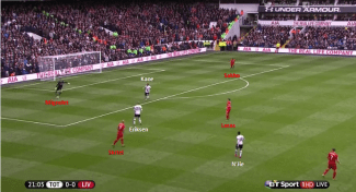 With no options available Skrtel can only pass the ball back to Mignolet , but Kane's pressing forces Liverpool's keeper to play the long ball.