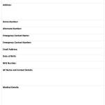 personal info sheet