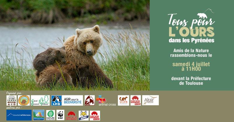 Tous•tes pour l'Ours dans les Pyrénées Samedi 4 juillet à 11 h à Toulouse