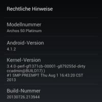 Archos Platinum 50 - neues Firmwareupdate Buildnr. 20130726.213944 verfügbar