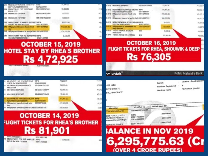 rhea brother 4 lakh from sushant passbook