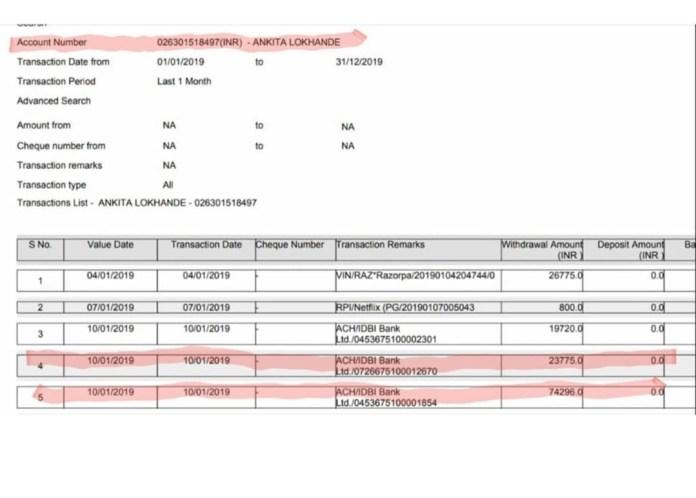 ankita lokhande bank statement flat registeration sushant