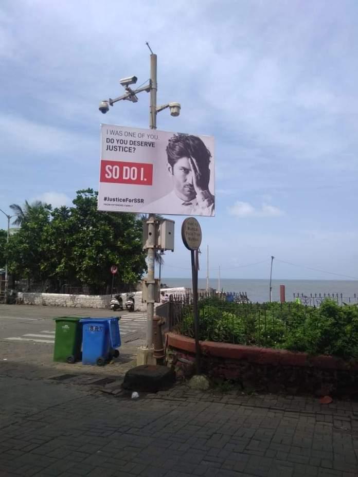 justice for sushant posters across mumbai mannat srk