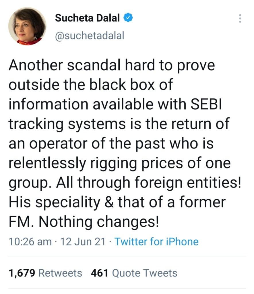 Sucheta dalal latest news adani tweet