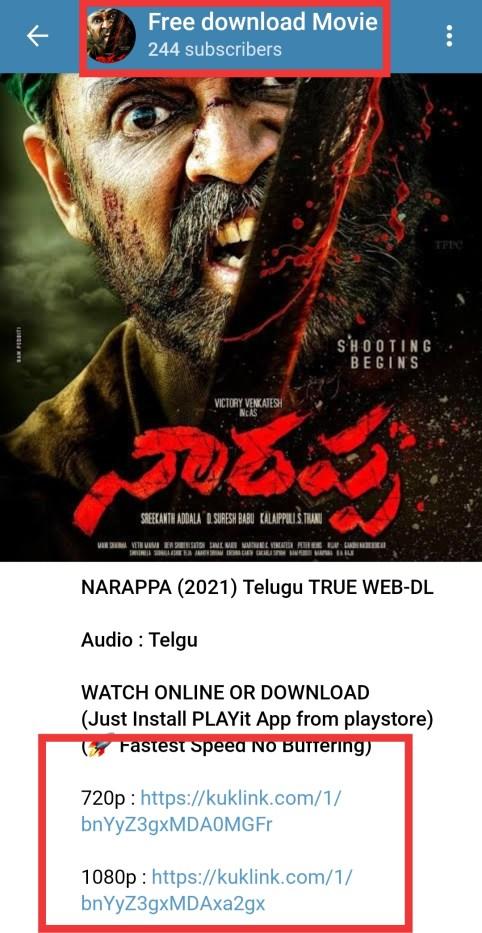 narappa movie telegram channel link free download