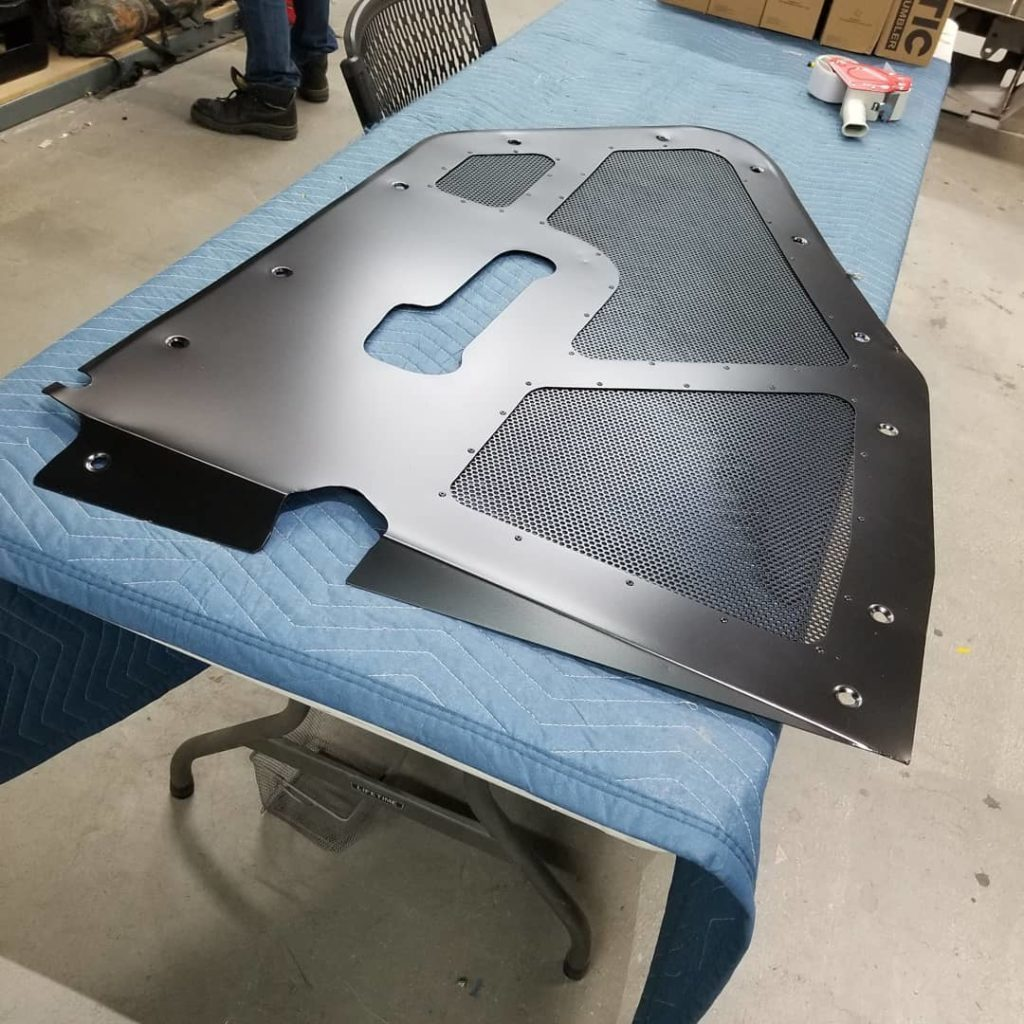 Ceramic coated engine trim panel for hot-rod
