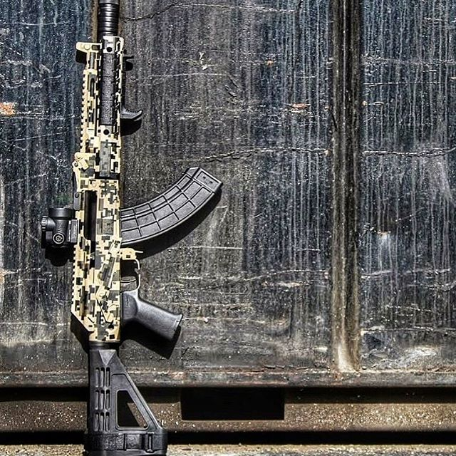 Custom Cerakote coated AK rifles with multicam coating, by FNG precision Coatings