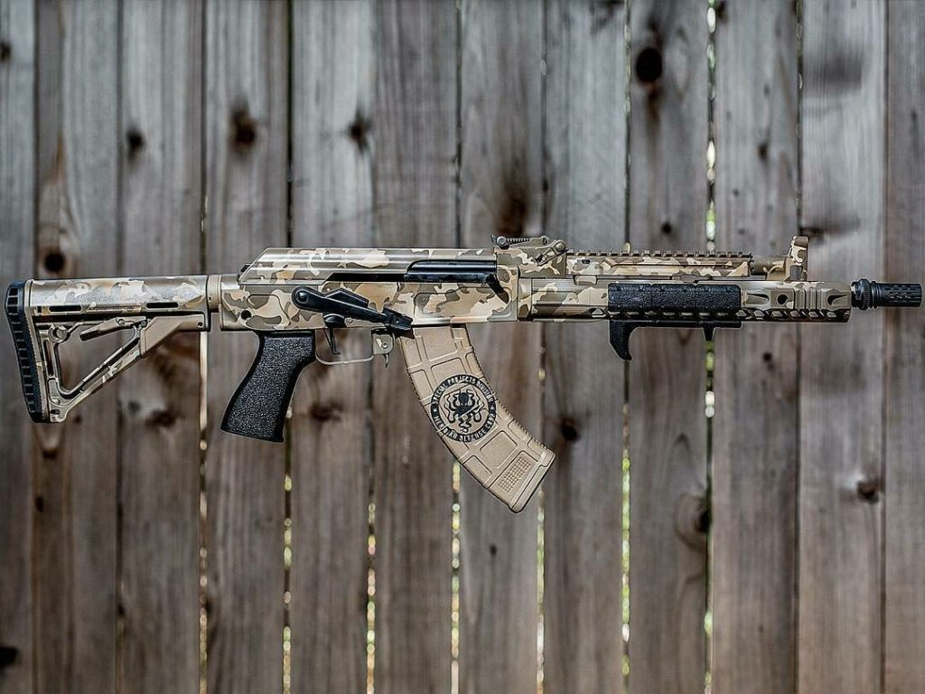 Custom coated AK rifles with multicam cerakote coating, by FNG precision Coatings