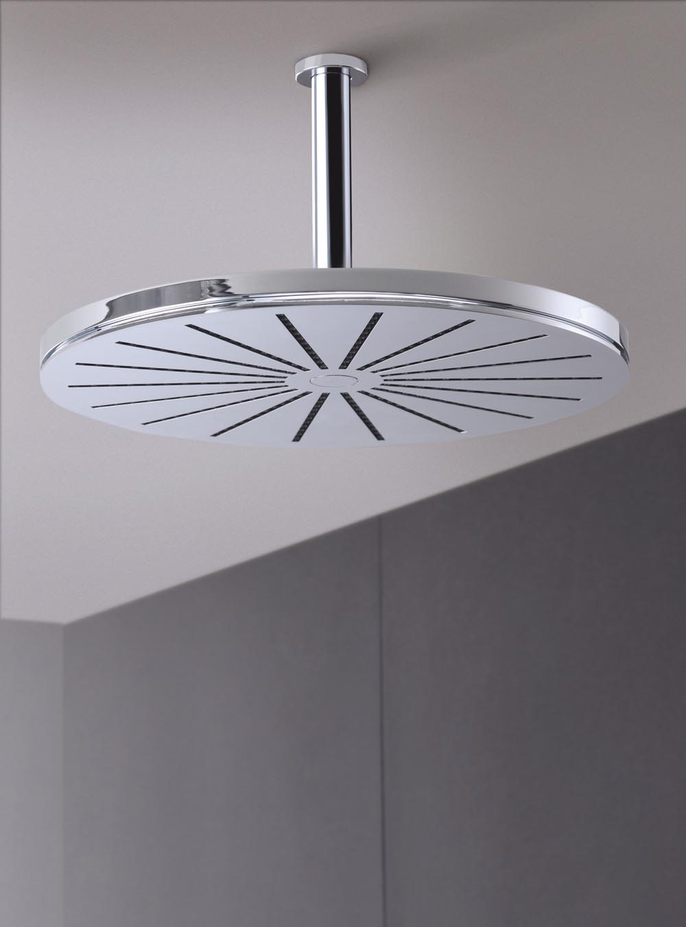 Vola 060a 40 Round Ceiling Mount Showerhead With Arm And