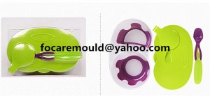 two color children feeding bowl mold