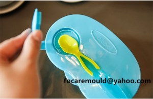 two shot baby learning dishes
