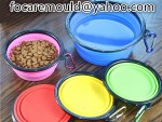 two color pet food bowl collapsible