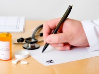 Doctor writing a prescription. Inspector: I've made a drawing of the Rx letter myself.
