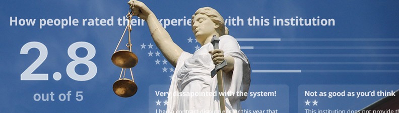 Statue of justice and institutional reviews from users